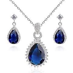 Idea Regalo - Lacrima Zaffiro simulato blu Cristalli austriaci di zirconi Purare Collana con ciondolo 45 cm Orecchini 18 kt placcato oro bianco