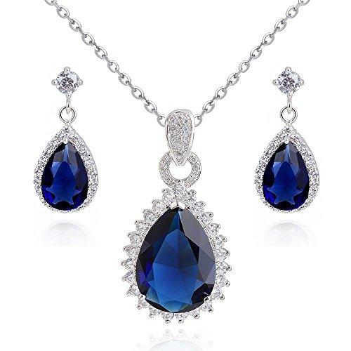 Lacrima zaffiro simulato blu cristalli austriaci di zirconi purare collana con ciondolo 45 cm orecchini 18 kt placcato oro bianco
