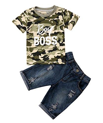 Jungs Kleidung Setzt Camo Boy boss T-Shirt+ Jeans Hose Jungen Kleinkind Kinder EU 74-116 -