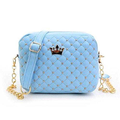 hibote 2016 Frauen Bag Mode Frauen Bote Bags Rivet Chain Schultertasche Gute Qualität PU Leather KreuzKörper Quiled Crown Bags Blau