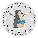 Mr. & Mrs. Panda Uhr, Rund, 30 cm Wanduhr Pinguin Buch - Farbe Weiß