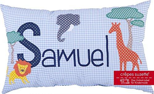 Crêpes Suzette Individualisierbares Namenskissen Modell Samuel mit Giraffe, Löwe und Elefant in hellblau
