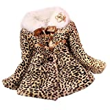 Malloom niñas Princesa Piel de imitación Leopardo Abrigos Chaqueta de algodón Acolchado...
