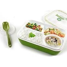 Fiambrera a prueba de fugas Almuerzo Bento seguro para microondas envase de alimento - 4en1 - 3 compartimientos 1 Cuenco 1 cuchara (Verde)