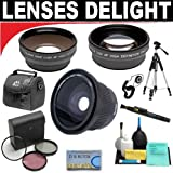.42x HD Super Wide Angle Fisheye Lens + 2x Digital Telephoto Professional Series Lens + 0.5x Digital Wide Angle Macro Professional Series Lens + 3 Piece Digital Camera Filter Kit + 6-Piece Deluxe Cleaning Kit + Full Size Tripod + Deluxe DB ROTH Accessory
