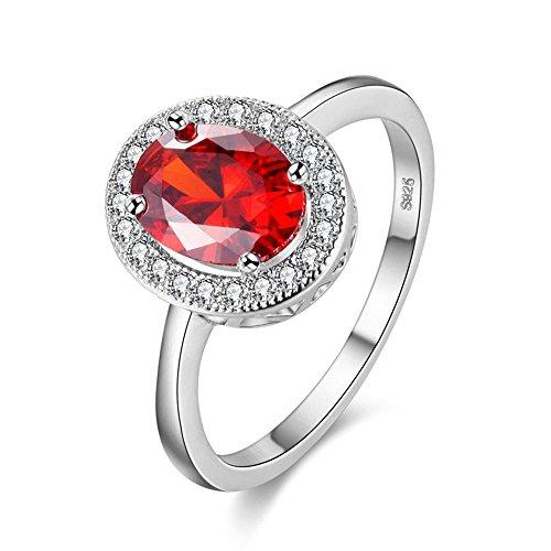 Rot Stein Hochzeit Verlobung Geburtstag Ring Schmuck Weißes Gold Überzogen Anniversary Promise Roter Ring für Mädchen PJ4262 ()