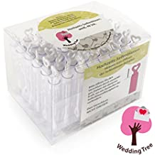 Louisiana - Juego de 48 botecitos para pompas de jabón, para regalo para invitados en bodas, color blanco