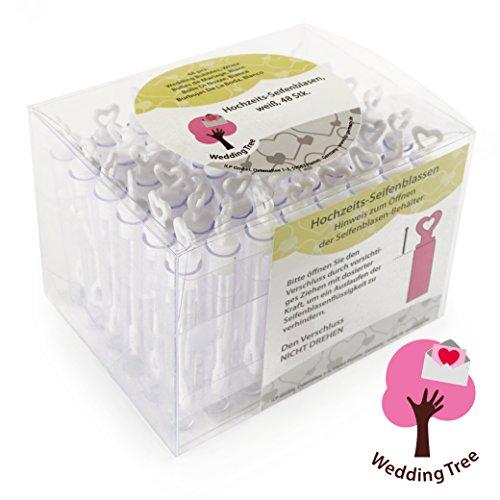 Weddingtree® bolle di sapone un set in bianco 48 pezzi con il manico a cuore - diletto per un matrimonio battesimo compleanni nozze d'oro fidanzamento san valentino bomboniera feste