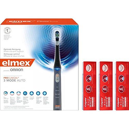 elmex OMRON ProClinical 3 Mode Auto Schallzahnbürste und Colgate MAX WHITE EXPERT WHITE Zahnpasta