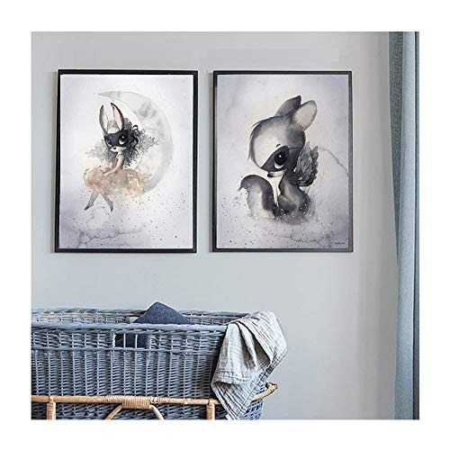 zxddzl Handgemalte Hase Junge Mädchen dekorative Malerei Schlafzimmer dekorative Malerei Kern 50 50 * 70