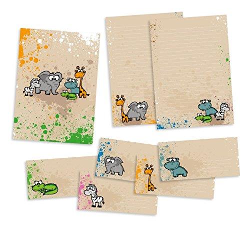 Set Briefpapier für Kinder | Safari-Tiere | Schreibblock DIN A4 mit 25 Blatt + 15 Briefumschläge DIN lang + hochwertige Mappe