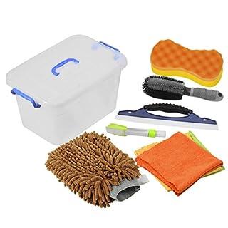 Auto Reiniger Set, DEDC 7er/Set Autopflege Set Autowaschset umfasst Felgenbürste Schwamm Mikrofaserhandschuh Wasserabzieher Reinigungstuch Set Lüftungsschlitze Bürste Kofferraumbox Kaffee