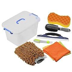Idea Regalo - DEDC Kit di Strumenti di Lavaggio Auto Kit Pulizia Auto Autolavaggio Guanto Spugna per Pulizia Auto Spazzola di Ruota Auto Parabrezza Cleaner con Contenitore di Plastica Marrone