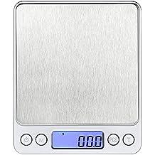 Báscula digital de cocina balanza de cocina escala digital de cocina en acero inoxidable función auto tara y calibración automática con resolución de 0,01oz