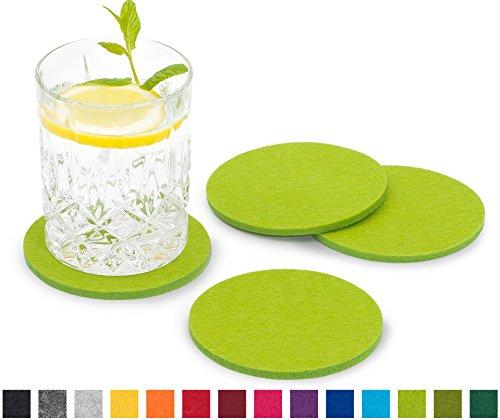 FILU Filzuntersetzer rund 8er Pack (Farbe wählbar) hellgrün - Untersetzer aus Filz für Tisch und Bar als Glasuntersetzer/Getränkeuntersetzer für Glas und Gläser