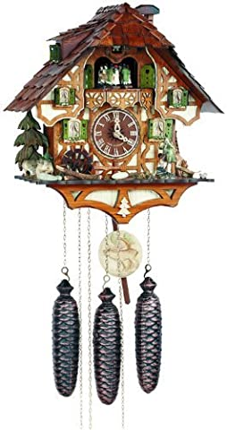 River City Clocks Eight Day Musical Cuckoo Clock with Hunter Moving with Binoculars and Waterwheel by River City Clocks