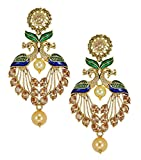 Zaveri Pearls Multi Color Attractive Peacock Design Pearl Drop Earring For Women