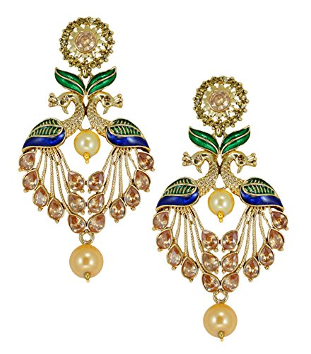 Zaveri Pearls attractive Peacock Design Pearl Drop Earring For Women - ZPFK5454