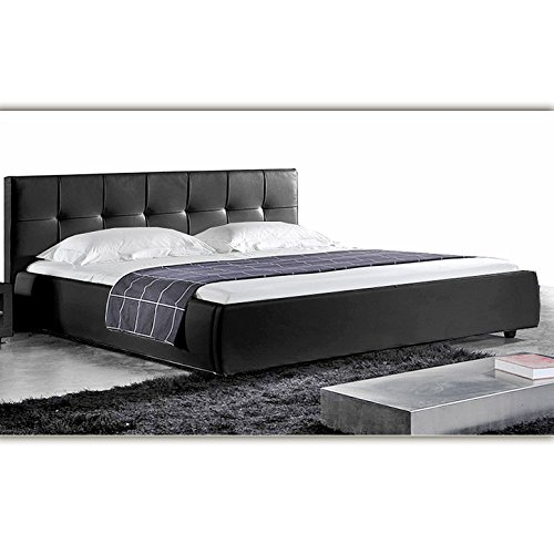 (813) Schwarz LONDON Doppelbett Polsterbett 180x200cm Bettgestell Bett Lattenrost
