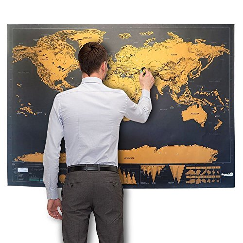 Magento's Perfect Map to Scratch. Make Travelling More Fun. Added Bonus Traveller's Ebook - Track Your Adventures - Easy to Rub Of - Bonus Places to Take off- Best Personalised Gift