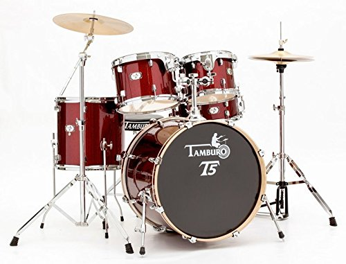 tamburo-t5-t5s22rssk-acoustic-drum-set-sparkling-red-with-hi-hats-and-stool