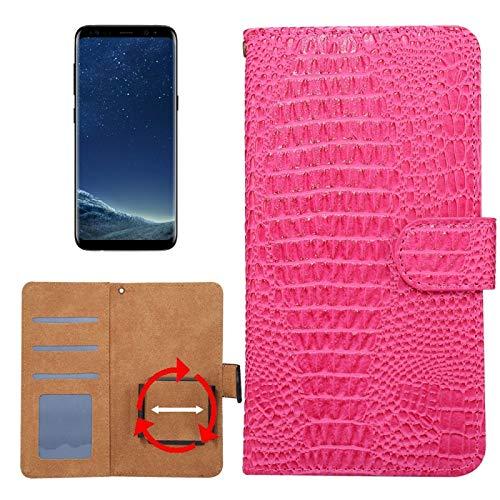 Krokodil-drehung (Allshopstock (#52) für Kompatibel mit : Galaxy S8 & S7 Edge & Kompatibel mit : Huawei P9 Plus Universal Drehung Klammer Krokodil Textur Flip- Leder-Etui (Magenta))