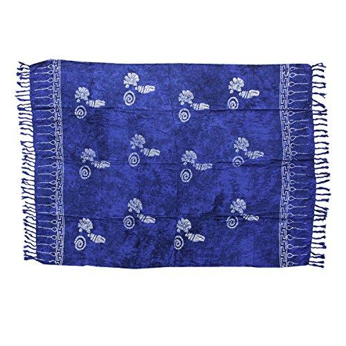 ManuMar Damen Sarong | Pareo Strandtuch | Leichtes Wickeltuch in dunkel-blau mit Muschel-Motiv mit Fransen-Quasten XXL Übergröße 115x225 cm