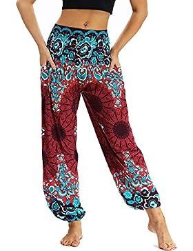 Nuofengkudu Mujer Pantalones Harem Tailandes Hippies Vintage Boho Flores Verano Alta Cintura Elastica Casual Danza...