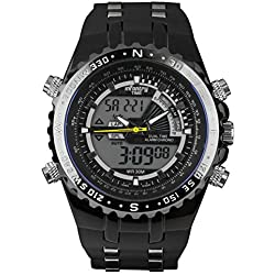 INFANTRY® Mens Analogue - Digital Wrist Watch Multi Function Sport Military Black Rubber Strap