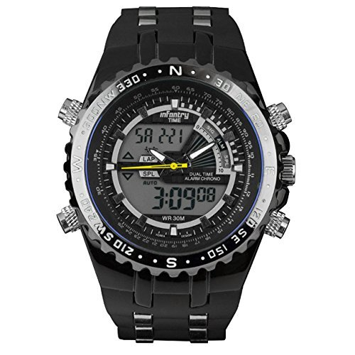 INFANTRY Herren Analog-Digital Armbanduhr Dual Zeitzone Chronograph Alarm Stoppuhr Outdoor Rubber Armband Schwarz