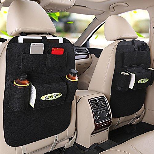 Haosen Multifunzione Auto di stoccaggio posti Borse Accessori auto Tasca posteriore del seggiolino con più sacchetti - Adatta per il 99% dei modelli di auto - 2 pezzi Nero