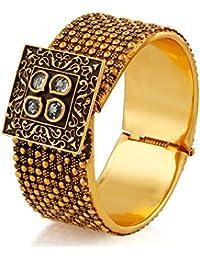 Rich Lady Enchanting Design White Stone & Meenakari Gold Finishing Opnebale Bangle(2.6) For Women & Girls