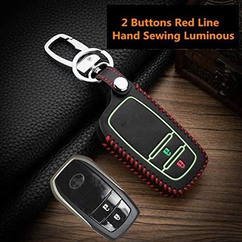 QCYSTBTG Luminous Leder Auto Smart Key Cover Fall, Für Toyota Camry Coralla Crown RAV4 Highlander 2015 2 & 3 Taste Fernschlüssel Schutz S (Leder Aus Smart-key-cover)