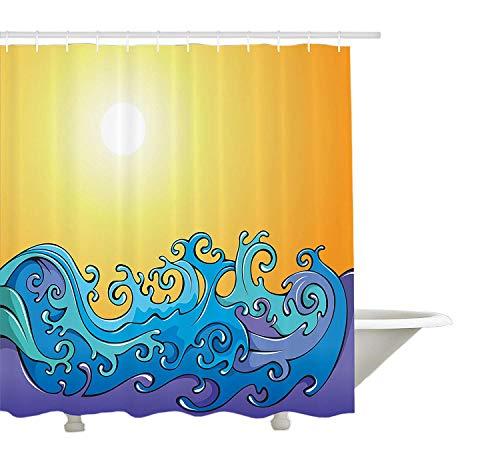 Yeuss abstrakte Duschvorhang von, Trippy wirbelnden Sea Waves Splashes mit Sonnenstrahlen in den Himmel Cartoon Illustration, Stoff Badezimmer Dekor Set mit Haken, Orange Blau 72 'x 80'