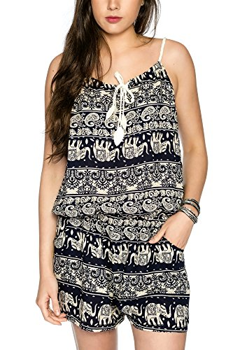 Kendindza Damen Kurz Overall Jumpsuit Shorts Einteiler Mehrfarbig Gemustert (One Size, (Für Kostüme Aztekische Mädchen)