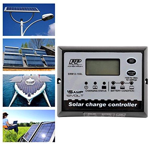 powerprow (TM) 12V 15A PWM Solar Charge Controller Wasserdicht LCD intelligente Solar Panel Regler Überlastschutz Temperaturausgleich (Solar-panel-überspannungsschutz)