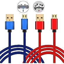 Cable Micro USB Carga Rápida de Nilón (2 Unidades), Cable USB Sincro y Carga para Mando PS4 PS4 Pro / Slim y Xbox One S / X