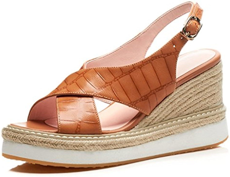 SANDALES Mode PU Peep-toe talon compensé plate-forme hauts à talons hauts plate-forme chaussures de travail élégant romaines femmes...B07D5CZ4V1Parent 64b2ca