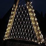DecoKing 45206 200er LED-Lichternetz warmes Weiß statisch strombetrieben Lichterkette Lichtervorhang Innen und Außen