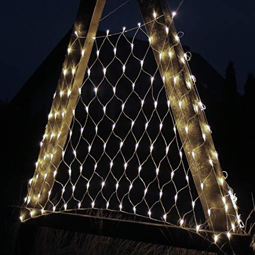 DecoKing 45206 200er LED Lichternetz warmes Weiß statisch strombetrieben Lichterkette Lichtervorhang Innen und Außen Gartendeko