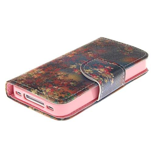 MOONCASE iPhone 4/4S Coque, Printing Series Case Étui en Cuir Portefeuille Housse de Protection Etui à rabat Cover pour Apple iPhone 4 / 4S TX04 TX10 #0401