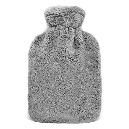 Bigmeda Wärmflasche mit Bezug, 2 Liter Wärmflaschen mit Super Soft Plüschbezug und Premium Naturkautschuk, Sicher und Langlebig Wärmeflasche für Familie - Grau