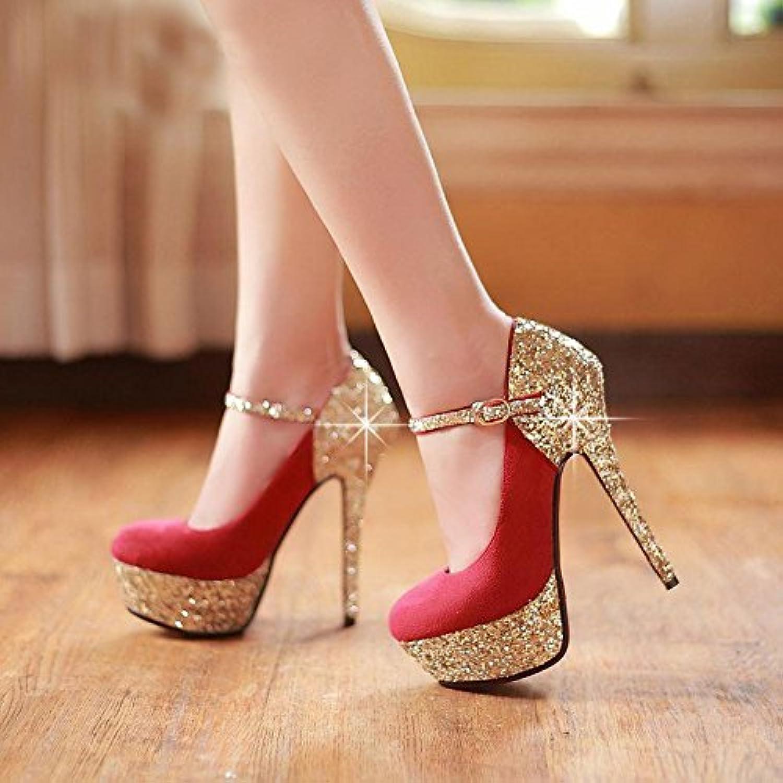 VIVIOO Prom Prom Prom Sandals scarpe,The Sweet Are,rosso (blu) Leather,Sequins Cloth Trim High-Heeled scarpe. Dimensione 34-45,rosso,8   Beni diversi    Scolaro/Signora Scarpa  228d72