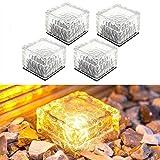 LITTOU Solar Glas Kristall Backstein Paver Gartenlicht Wasserdichte Eiswürfel Rocks LED Nachtlampe für Garten Hof Weg Terrasse Schwimmbad Teich Außendekoration (Gelb) (4er Pack)