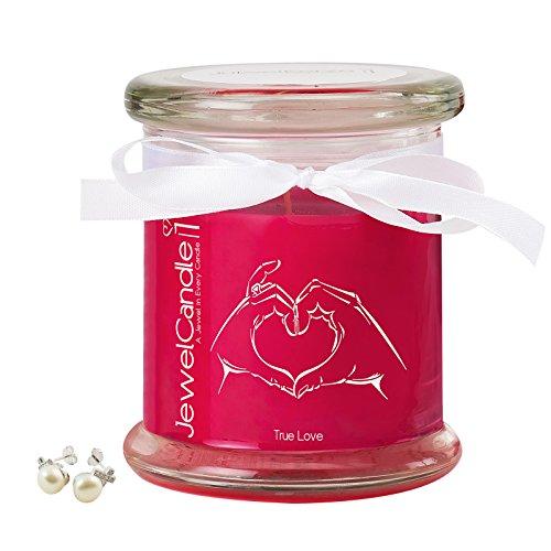 """JewelCandle, bougie parfumée """"True Love"""" avec un bijou surprise en argent (Boucles d'oreilles) d'une valeur allant de 10 à 250 €"""
