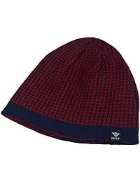 Amurleopard Bonnet tricot hat homme chapeau chaud hiver imprime carreaux knit Taille unique