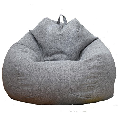 MagiDeal 10 Colors Available Solid Color Linen Bean Bag Cover Sofa Slipcover Cover Only Home Toys Clothes Pillow Storage Bag - Gray, 60x75cm