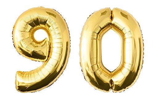 Globo de lámina 90 dorado Número enorme 100 cm rellenable con helio o aero fiesta de cumpleaños