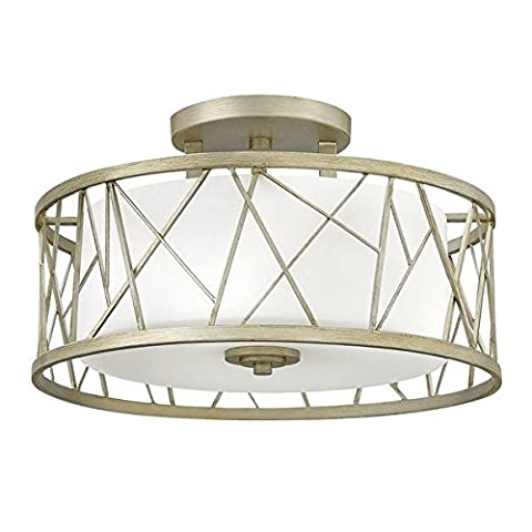 Modern Silver Leaf Finish Semi Flush Ceiling Light - with Etched Glass