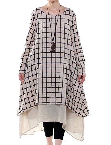 Voguees Damen Plaid Doppelschichten Unregelmäßiger Saum Kleid weißer Reis